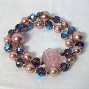 Cookie Lee Purple Beaded Stretch Bracelets